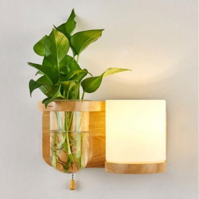 RUMOCOVO® Applique murale en bois avec prise E27, 100 à 240V, design créatif moderne, Pot de plantes vertes,type 2
