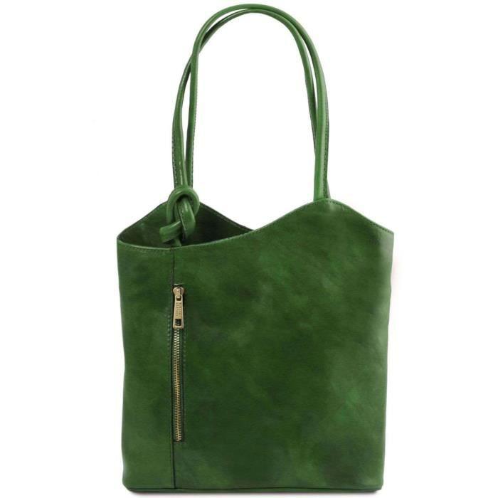 Tuscany Leather - Patty - Sac en cuir convertible en sac à dos - Vert (TL141497)