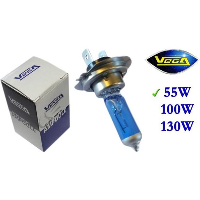 1 ampoule Vega® Xénon 'Day Light' H7 55W PX26d Lumière du jour Super White Marque Française Homologuée 12V