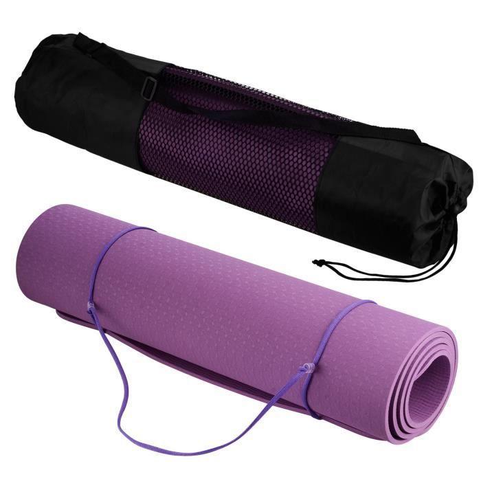 Tapis de Yoga Sport en TPE Matériaux Épaisseur de 6MM 183x61cm, Tapis Yoga Antidérapant et Durable, avec Un Sangle et Un Sac à Dos