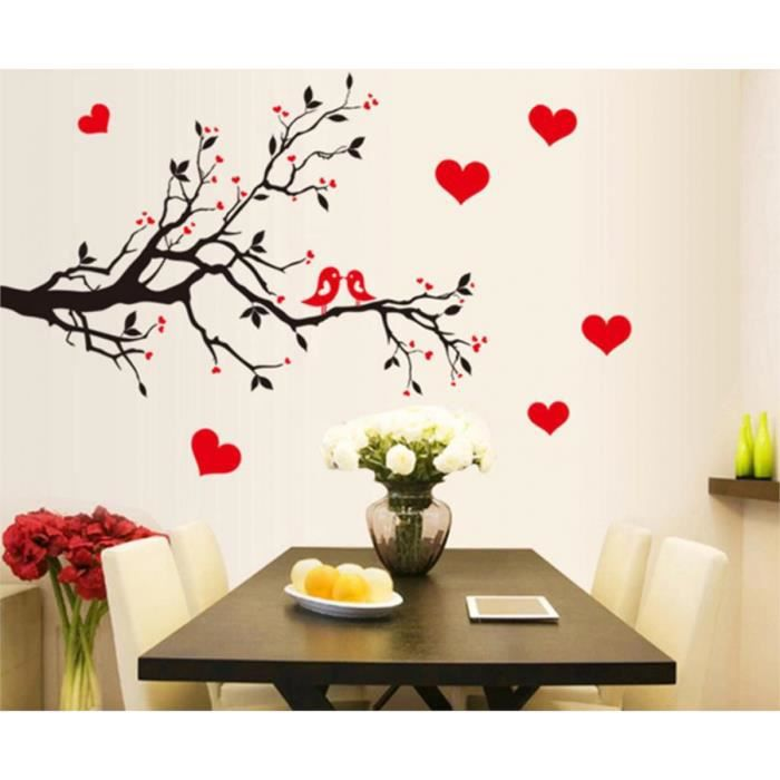 Rouge amour coeur d coration murale vintage vie arbre for Decoration murale arbre de vie