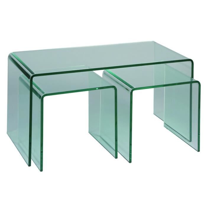 Tables de salon avec 2 gigognes clean achat vente for Modele de table de salon moderne