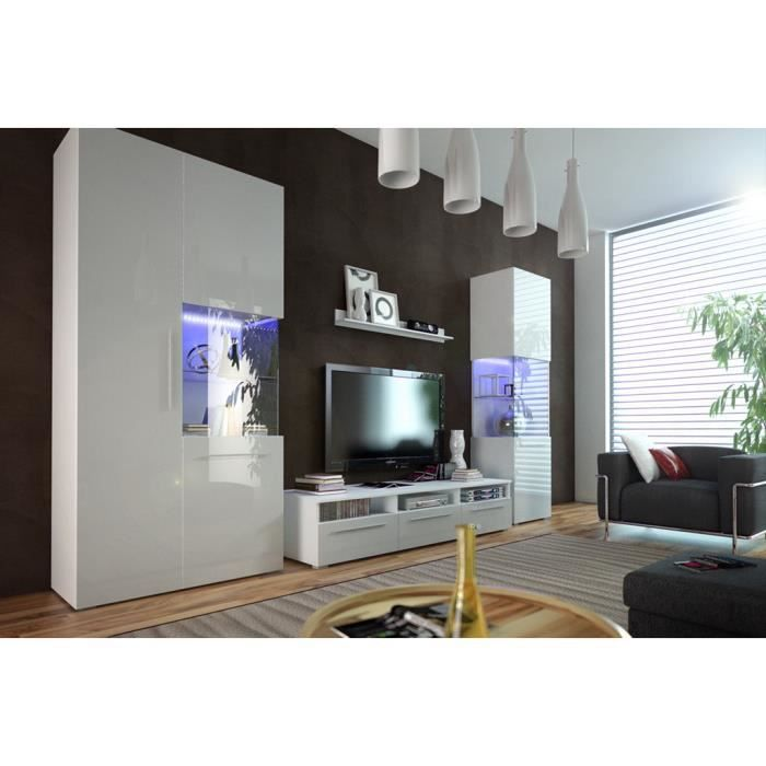 mur tv laque blanc complet ref nicae achat vente meuble tv mur tv laque blanc complet mdf. Black Bedroom Furniture Sets. Home Design Ideas