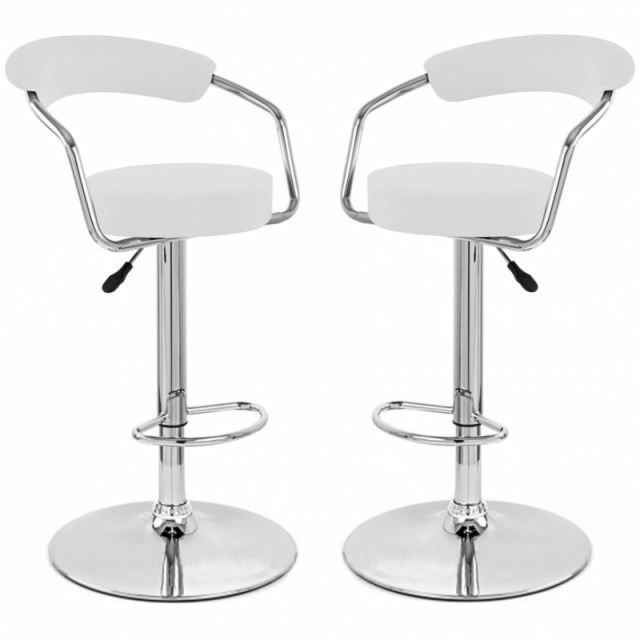 tabouret de bar blanc x 2 retro coiffeur achat vente tabouret de bar pvc acier chrom. Black Bedroom Furniture Sets. Home Design Ideas