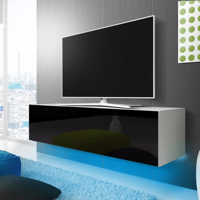 meuble tv lana avec led bleue blanc mat noir brillant 160cm achat vente meuble tv meuble. Black Bedroom Furniture Sets. Home Design Ideas