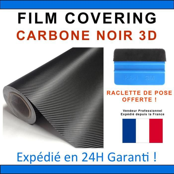 50 x 152cm carbone 3d noir film vinyle stickers covering thermoformable discount achat vente. Black Bedroom Furniture Sets. Home Design Ideas