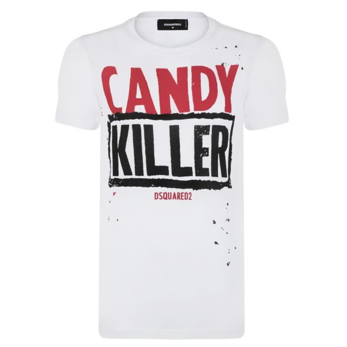 Dsquared2 Homme T Shirt Candy Killer Blanc Blanc Achat Vente T