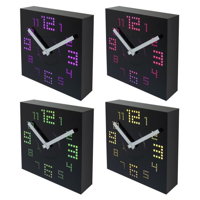 party led horloge murale led noire 20x20 cm achat. Black Bedroom Furniture Sets. Home Design Ideas
