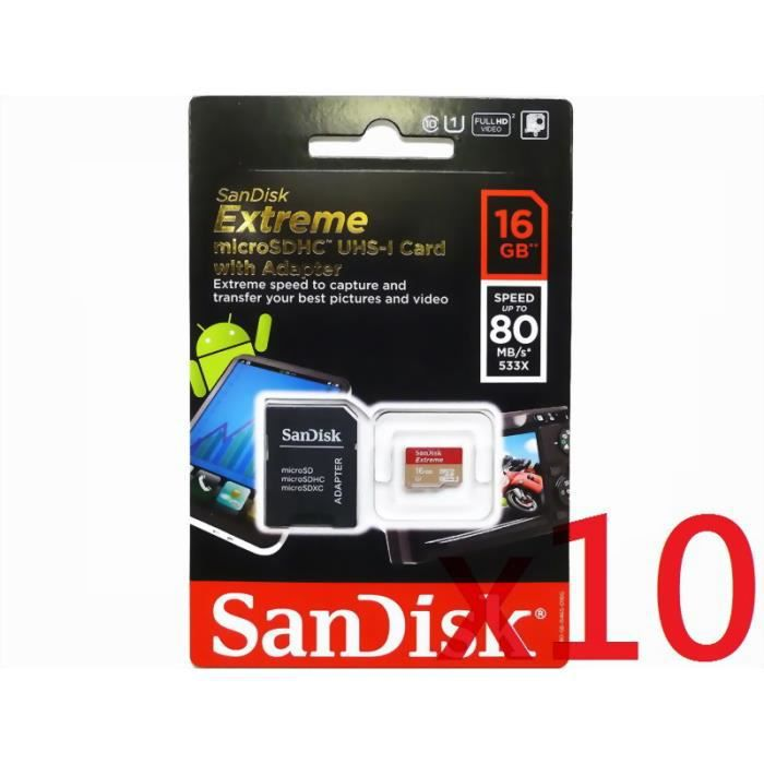 grossiste 10 piece sandisk extr me 16go micro sd sdhc. Black Bedroom Furniture Sets. Home Design Ideas