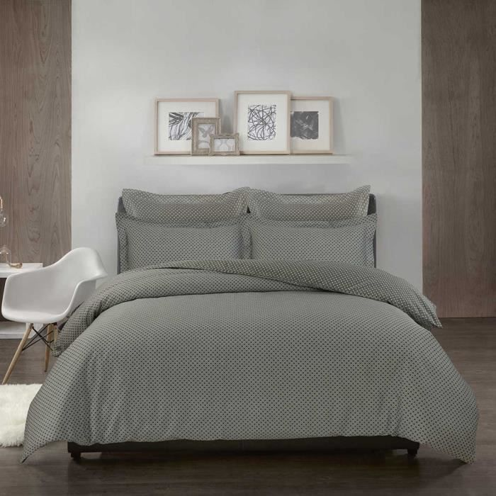 housse de couette satin de coton imprim e asta sensei la maison du coton 260x240taupe. Black Bedroom Furniture Sets. Home Design Ideas