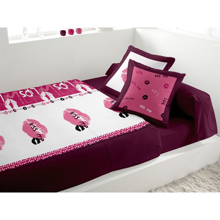 parure de lit 5 pi ces lips rose achat vente parure de lit cdiscount. Black Bedroom Furniture Sets. Home Design Ideas