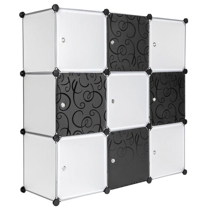 Tectake Armoire De Rangement Systeme Click Modulable En Plastique 112 Cm X 37 Cm X 112 Cm Blanc Noir Achat Vente Armoire De Chambre Armoires Plastique Etagere Cdiscount