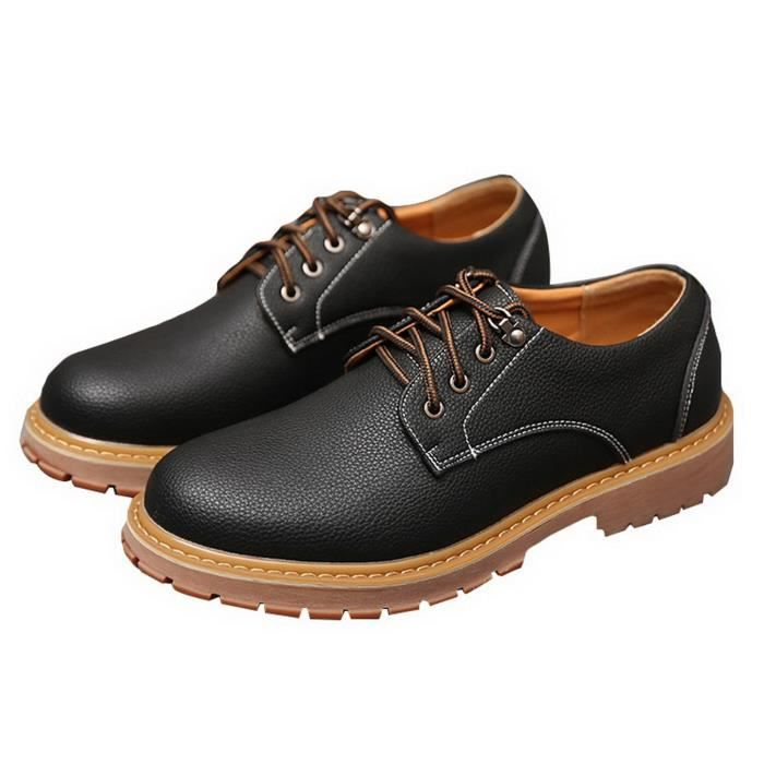 EOZY Chaussures en Cuir Homme Chaussures de Travail Casual Anti-glissant Respirant