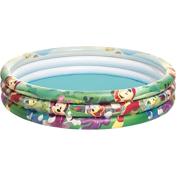 Mickey club house piscine gonflable enfant 3 boudins for Piscine gonflable 2 boudins