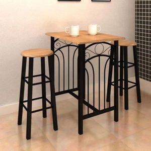 TABLE À MANGER COMPLÈTE Table de cuisine Petite Effet fer forgé Bois de MD