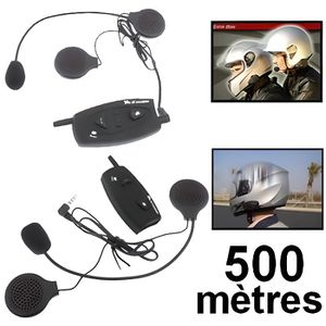 INTERCOM MOTO Kit 2 pièces Bluetooth casque Moto Mains-libres FM