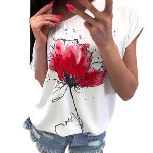 T-SHIRT amour@ femme Imprimer Floral Casual Blouse à manch