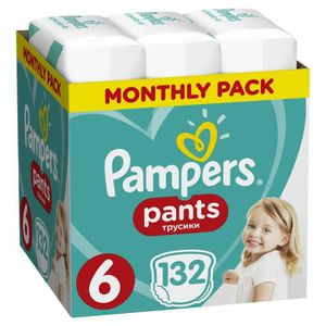 COUCHE PAMPERS Pants Taille 6, 132 pcs