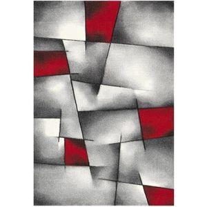 TAPIS NAZAR Tapis de salon Brillance rouge, gris et noir