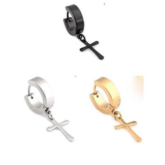 Pendantes Croix Clip Acier Inoxydable Boucle d/'oreille Stud Hoop Non Piercing Cartilage NEUF