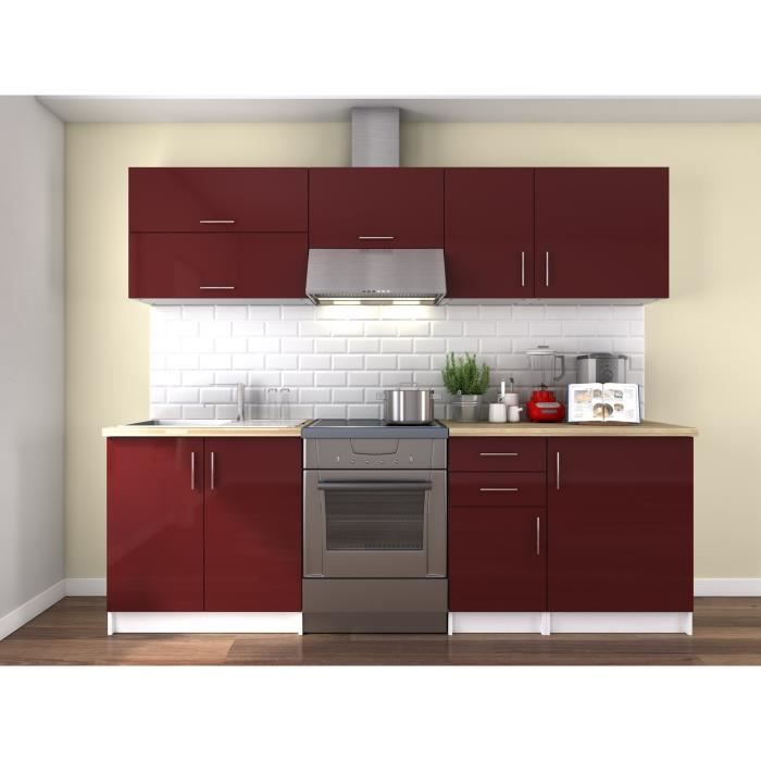 obi cuisine compl te l 2m40 bordeaux laqu brillant achat vente cuisine compl te obi. Black Bedroom Furniture Sets. Home Design Ideas