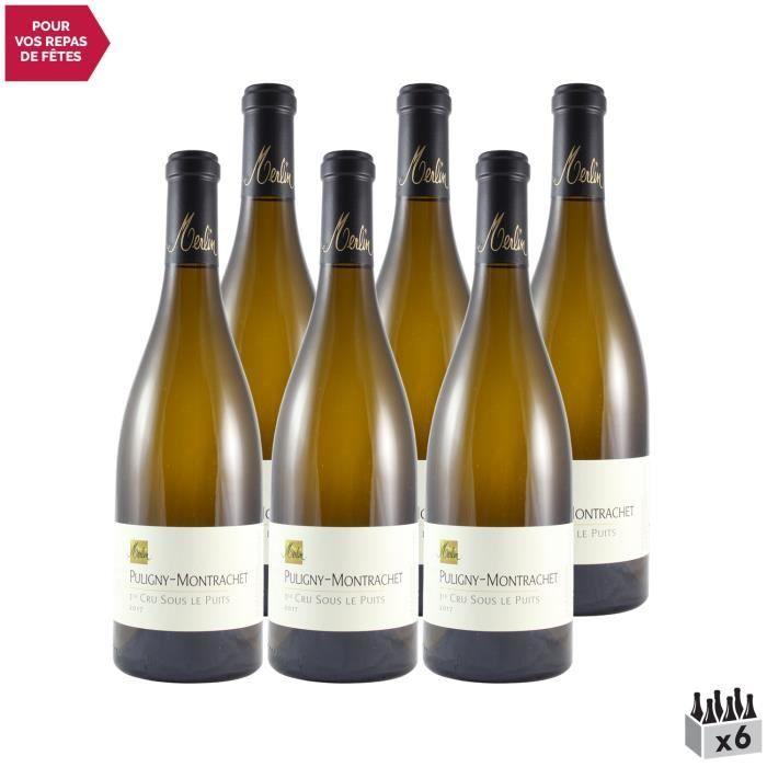 Puligny-Montrachet 1er Cru Sous le Puits Blanc 2017 - Lot de 6x75cl - Domaine Olivier Merlin - Vin AOC Blanc de Bourgogne
