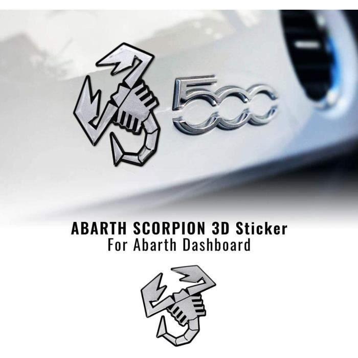 Autocollant 3D pour Tableau de Bord Fiat 500 Abarth, Scorpion Argent Satin