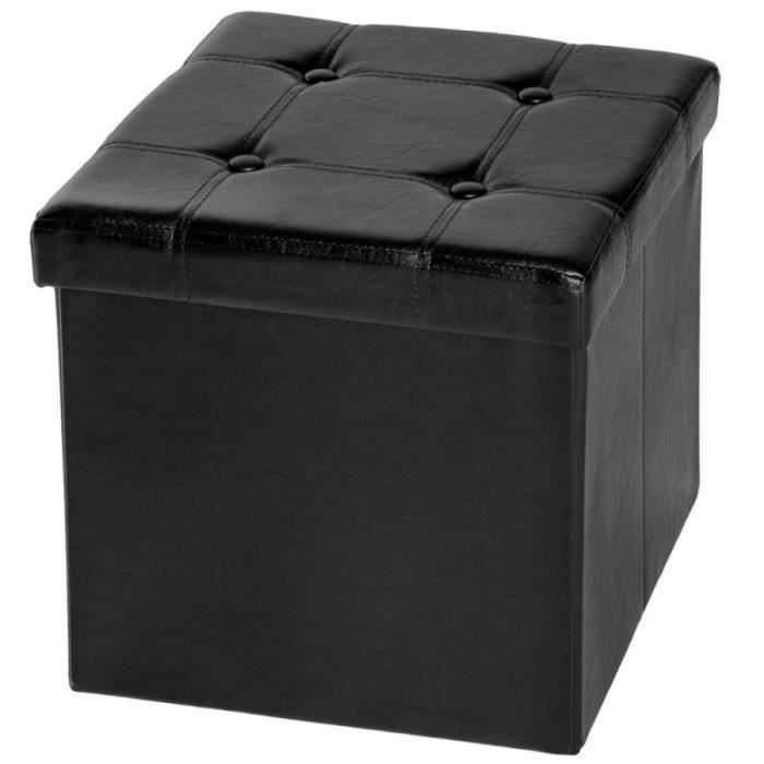 Tabouret, Banc, Pouf, Coffre de rangement, Cube Pliable Noir 38x38x38 cm