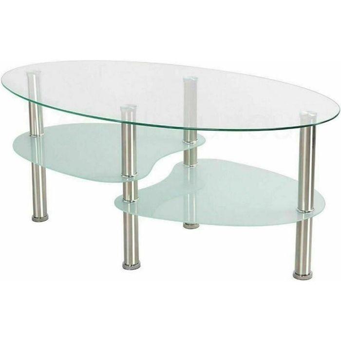 Table Basse Table de Salon en Verre Métal blanche Armature en Acier Inox - Design à personnalité haute et basse