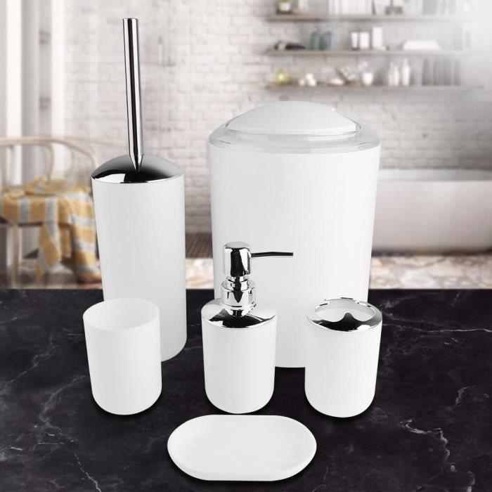 6pcs / set Accessoires de salle bain Set Porte-brosse à dents, poubelle, distributeur de savon robuste et durable (Blanc )