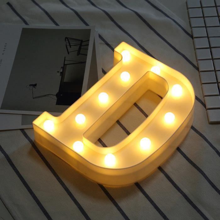 Alphabet LED Alphabet lumineux lettre en plastique blanc debout suspendu D