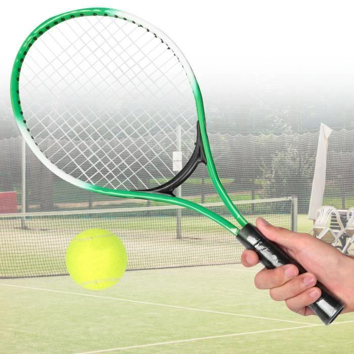 Raquette de tennis pour enfants en alliage de fer - Raquette d'entraînement pour débutants avec balle et sac de transport (vert)-YUN