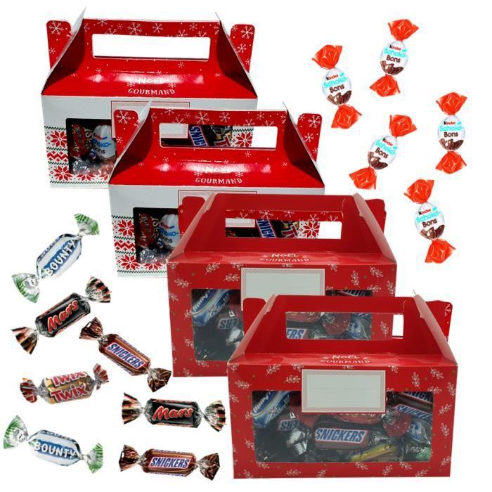 4 ballotins de Noël garnis de 30 chocolats : kinder SCHOKOBONS ET CELEBRATIONS - Idée cadeau Noël