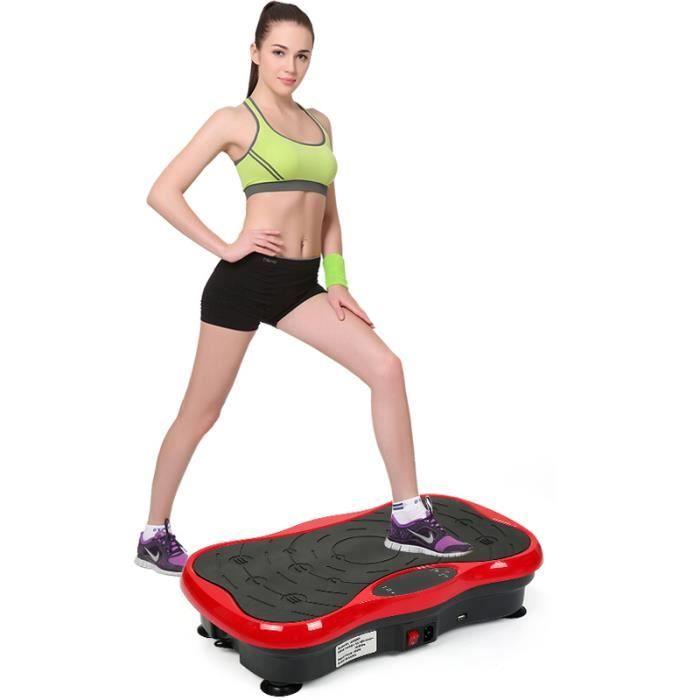 LUXS Fitness Plateforme Vibrante Papillon 5 niveaux réglables Pro Plateforme Oscillante Avec haut-parleur USB Rouge/Noir
