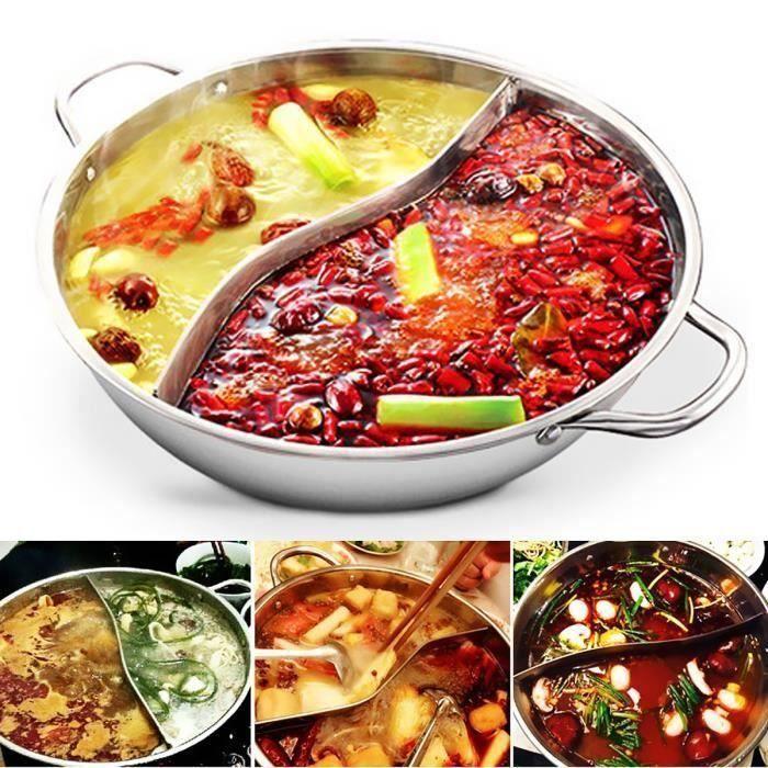 Acier Inox Twin Hot Pot Fondue Pot au Feu Marmite Cuisine Shabu Induction 28cm