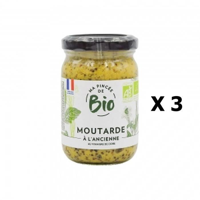 Lot 3x Moutarde à l'ancienne au vinaigre de cidre BIO - Ma Pincée Bio - pot 200g