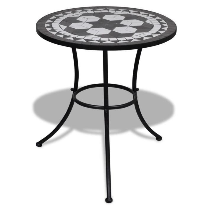 Table de bistro de 4 à 6 personnes - Table de bar - Table haute - Noir et blanc 60 cm Mosaïque