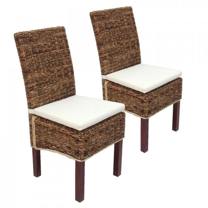 Lot de 2 chaises M69, banane tressée, pieds marrons, avec coussins