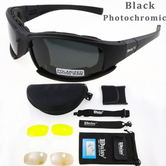 BlackPhotochromic -Lunettes photochromiques polarisées pour homme, accessoire de mode, style militaire, idéal pour le tir ou la rand