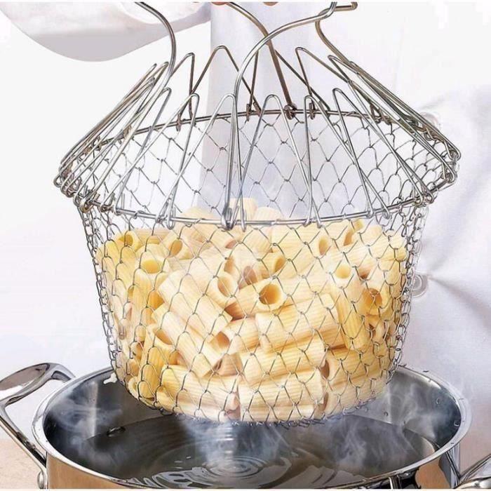 2PCS Panier à Salade Pliable en Inox, Vapeur de Rinçage Crépine Panier de Chef pour Frites Légumes Salades