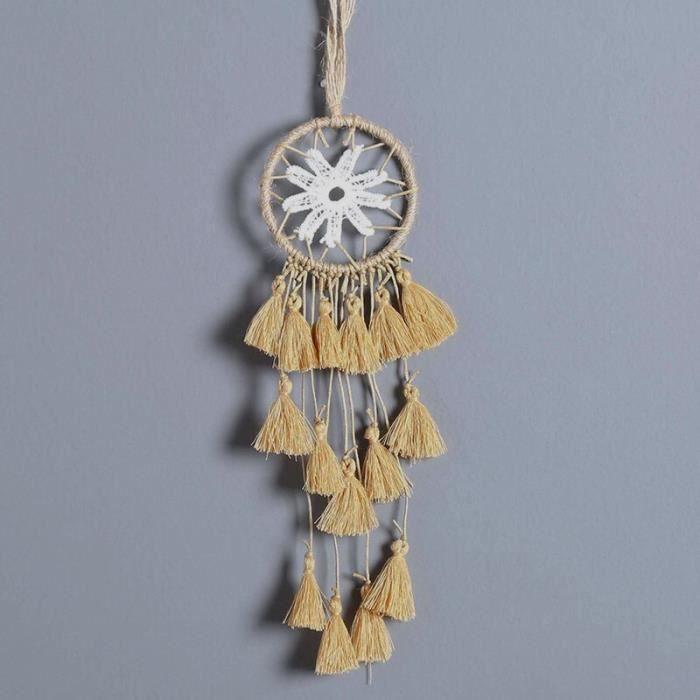 CARILLON A VENT - CARILLON EOLIEN,MIAMOR Mini capteur de rêves multicolore fait à la main - Type beige