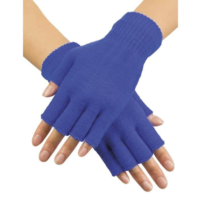 Mitaines courtes bleues adulte - 232497 (Taille Unique)