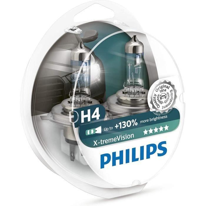 Voiture Led PHILIPS XTREME VISION +130 H4 Ampoules de Phare Avant Origine (2PCS) 12342XV +S2155