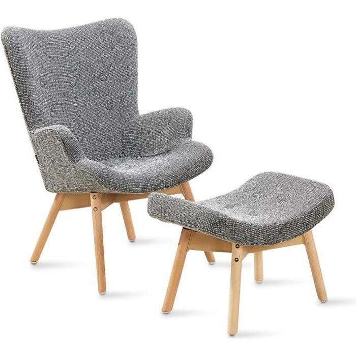 Fauteuil scandinave gris patchwork - Stockholm - DESIGNETSAMAISON