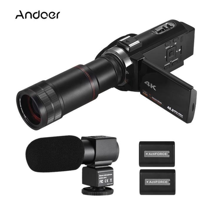 Andoer Caméscope Numérique HD 4K Caméscope Zoom Numérique 16X Zoom 3 pouces avec Écran Tactile WiFi Vision Nocturne IR avec 2 piles