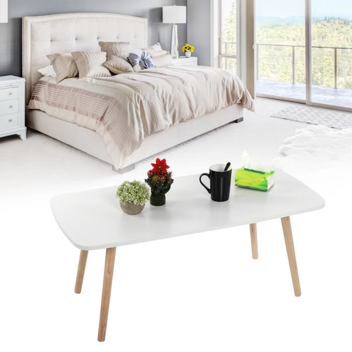 Petite table basse rectangulaire blanche simple -OLL