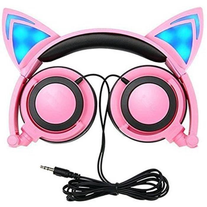Casque audio enfant - Pliable Oreille de chat Écouteurs filaires avec micro et LED, Meilleur cadeau pour les enfants