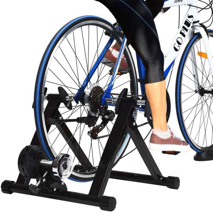 GOPLUS Home Trainer Vélo pour Roue 26-28'' 700C,avec 8 Vitesses Réglable,Support Mgnétique de Vélo,Entraîner Turbo de Vélo Pliable