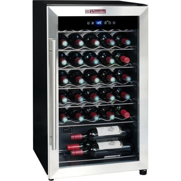LA SOMMELIERE LS34A - Cave à vin de Service - 34 bouteilles - Pose libre - A - Porte Vitrée - L 48 x H 83.8 cm