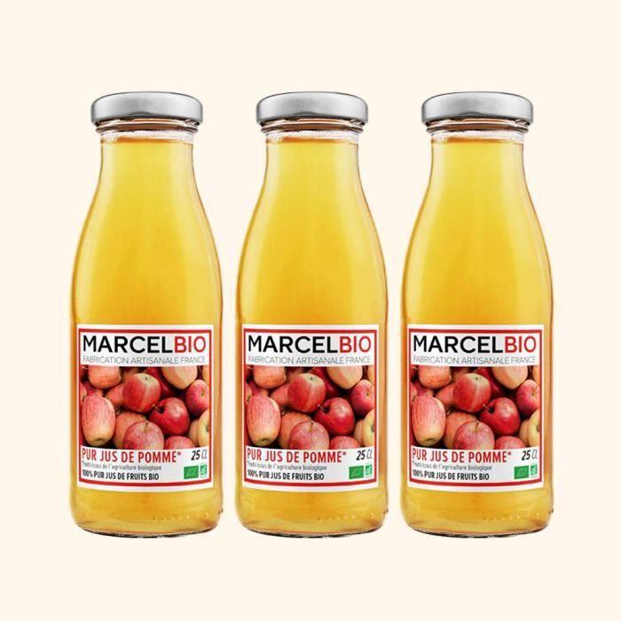 Marcel Bio - Pur jus de Pomme Bio 25cl - Pack de 3